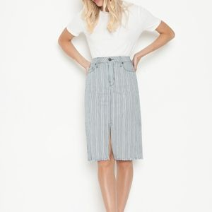 Parker Smith Fiji High Rise Skirt in Denim Stripe